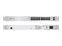 US-24-250W - Ubiquiti UniFi Switch US-24-250W - Switch - Managed - 24 x 10/100/1000 (PoE+) + 2 x Gigabit SFP - rack-mountable - PoE+